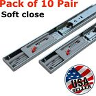 "10 Pair 14""-22"" Soft Close Drawer Slides Ball Bearing Full Extension Value Pack"