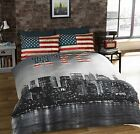 New York City Duvet Quilt Cover NYC / USA American Flag Reversible Bedding Set