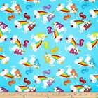 UNICORNS RAINBOW AQUA TIMELESS TREASURES QUILT SEWING FABRIC *Free Oz Post
