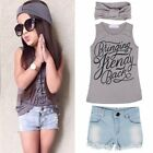 3pcs Kids Baby Girls Outfits Headband+Top T-shirt+Jeans Pants Clothes Set 2-6Y