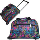Black Butterfly Womens Wheeled Holdall Hand Luggage Cabin Bag Weekend Gym Travel
