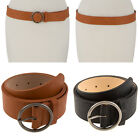 Women Round Circle Metal Buckle Faux Leather Stretch Elastic Band Waist Belt