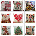 Christmas Cushion Cover Festive Tree Santa Gingerbread Snowman Nutcracker Noel