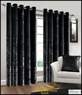 Luxury Natural Crushed Velvet Pair of Fully Lined Ring Top Eyelet Curtains BLACK