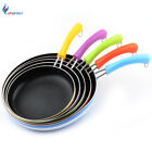 Multi Colors High Quality Aluminum Fry Pan with Colorful Handles 5 Sizes Choose