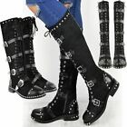 Womens Ladies Knee High Boots Studded Punk Grunge Rock Spikey Winter Calf Shoes