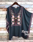 Plus Size Embroidered Tunic Rose Floral Kaftan Top Forest Boutique 1X 2X 3X