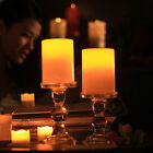 Flickering Flameless Resin Pillar LED Candle Lights w/Timer for Wedding Party