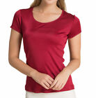 Pure Silk Knitted Women's Round Neck Short Sleeve Tee Solid Size 6 10 14