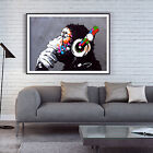 Banksy DJ Monkey Gorilla Chimp Poster Print Wall Art Large A1 A2 A3 A4