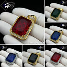 MEN Stainless Steel Gold/Silver ICED Green/Blue/Black Onyx/Ruby Pendant*P103