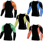 Men Athletic Workout T shirts Sports Gym Long Sleeve Tights Dri-fit Tops Spandex