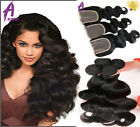 3 Bundles with Lace closure Peruvian Hair Human Hair Weave Body Wave US STOCK