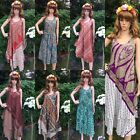 New Women Hippy  Boho Party Evening Beach Dresses Long peasant flaired two tone