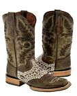 Men's Light Brown Bull Embroidered Design All Real Leather Cowboy Boots Rodeo