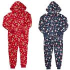 Boys Girls Santa Rudolph Xmas Hooded Christmas Fleece Sleepsuit 2 to 13 Years