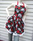 Skull and Roses Apron Retro Ruffle Dinner Party Hostess Goth Gift Bakery
