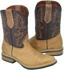 beige boots leather - Men's Beige Smooth Leather Saddle Ranch Leather Cowboy Boots Square Toe.