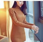2017 New Women Sweaters Pullovers   Lace Patchwork Women Turtleneck