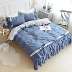 Cotton Bedding Sets Girls White Ruffles Duvet Cover Bed Sheet Set Pillowcases