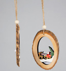 SANTA REINDEER TREE BARK CARVED CHRISTMAS HANGING WOODEN DECORATION