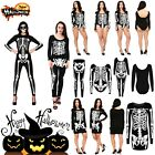 Ladies Halloween Skeleton TOP Bottom Bodysuit Jumpsuit Fancy Dress Party Costume