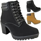 Womens Ladies Winter Walking Boots Fleece Warm Lining Cosy Low Block Heel Size