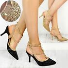 Womens Ladies Stud Diamante Low Heel Party Sandals Rock Strap Shoe Wedding Size