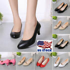 Womens Classic Low Mid High Heel Pointed Toe Pumps Office Lady Slip-on...