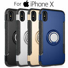 For iPhone X Hybrid Armor Case Cover w/360° Rotating Ring Kickstand Dual Layer