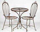 2 Wrought Iron Federal Chairs and Table Garden Patio Set Lawn Furniture