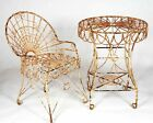 Wrought Iron Adult Antique Look Table & 2 Chairs Set - Patio Furniture to Last