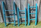 Brightly Colored Lagoon Rustic Antique 3 Rung Ladder