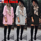Fashion Womens Long Sleeve Sweatshirt Dress Loose Shirt Dress Pullover Jumper US