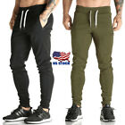 US Mens Sport Pants Long Trousers Tracksuit Fitness Joggers Gym Sweatpants M-2XL