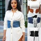 Womens Lace Tie Up Denim Wide Corset High Abdominal Shaping Waist Belt UK New