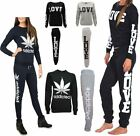 Womens Love Addicted 2 Pc Tracksuit Sweatshirt Jogging Ladies Long Sleeve Suit
