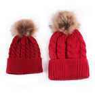 2PCS Parent-Child Mother&kid Beanie Hairball Cap Ball Warm Winter Knitted Hat