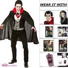Mens Bloodthirsty Vampire Adult Halloween Fancy Dress Costume Wig Fangs Make-Up