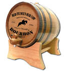 Personalized Jumping Horse Kentucky Bourbon Design Whiskey Barrel Stand and Size