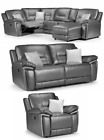 Henry Electric Recliner Corner RHF LHF Grey Leather Sofa 3 + 2 Seater Set