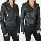 Womens Faux Leather Short Studded Jacket Biker Punk Cropped Casual Size UK