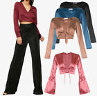 New WOMEN Bell sleeves V Neck Satin Blouse PARTY Tie Front Crop TOP Size 4-14 UK