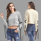 US Womens Fashion Pullover Crop Tops Sweatshirt Bandage Sleeve Cropped Hoodies