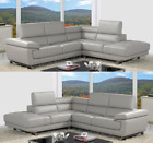 Valencia Taupe Grey Leather Corner Sofa Right Left Hand Facing & 2 Seater Set