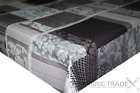 Plaid Floral Patchwork Grey PVC Tablecloth Vinyl Oilcloth Kitchen Dining Table