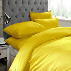 Musturd Duvet Set with Pillow Case Plain Quilt Cover Bedding All Sizes Available