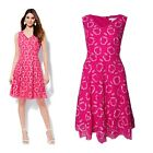 New Fuchsia Lace V neck Sleeveless knee length dress