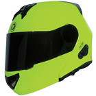 TORC T27B BLUETOOTH GLOSSY HI VIZ YELLOW MODULAR MOTORCYCLE HELMET DOT XS - XL