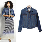 Indigo Blue Wash Soft Jean Denim Super Stretchy Jacket size 14-28